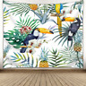 Pineapple Leaves Big Parrt  Tapestry Wall Hanging Colorful Bedspread Home Decor
