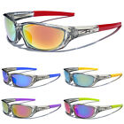 Clear Sport Wrap Frame Men Athletic Sunglasses Baseball Cycling Mirrored Glasses