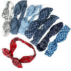 Women Vintage Temperament Striped Bow Knot Headband Elastic Hairband Headwear