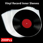 200Pcs 3Mil Antistatic Clear Plastic Inner Sleeves 7'' 10'' 12'' LP Vinyl Record