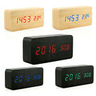 Voice Control Wood Wooden Cube LED Digital Alarm Desk Clock Time Thermometer