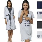 HAPPY MAMA Women's Maternity Nursing Buttoned Printed Nightshirt/ Robe 1169