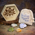 Healing Stones for You: Calm your Nerves Crystal Intention Set with Wood Dish