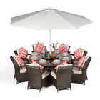 Arizona 8 Seater Round Rattan Garden Dining Table & Chairs Set Patio Furniture