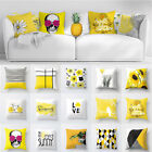 Yellow Cotton Linen Cushion Cover Pillow Case Throw Decor Art Sofa Car Decor