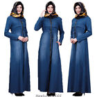 Dubai Abaya Women Muslim Denim Dress Hoodie Zipper Kaftan Robes Islamic Clothing