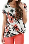 Chase Secret Womens Short Sleeve Floral Print Knot Front Blouse Casual Tops T...