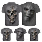 Skull Face 3D Print Mens Casual Crew Neck T-Shirt Short Sleeve Graphic Tee Tops image