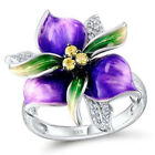 Gorgeous Flower 925 Silver Women Wedding Rings Round Cut Citrine Ring Size 6-10 image