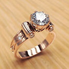 Elegant Rose Gold Filled Rings for Women Jewelry White Sapphire Size 6-10 image