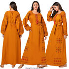Islamic Abaya Women Muslim Maxi Dress Ethnic Long Sleeve Embroidery Kaftan Gown