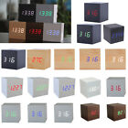 Square Wooden Digital LED Travel Alarm Clock Sound Control Thermometer Calendar