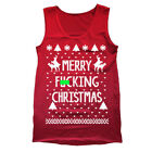 Merry F'n Xmas Christmas Funny  Ugly  Sweater  Party  Rude Red Tank Top