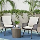 Outdoor Wicker Dining Chair Pe Rattan Accent Chair With Cushion Patio Furniture