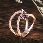 Fashion Butterfly Rose Gold Filled Blue Sapphire Women Cocktail Rings Size 6-10 image