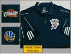 Sz L-XL Navy Striped Adidas ClimaLite Nba Mens Polyester db #14K Golf Polo Shirt on eBay