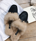 Women's Rabbit hair Fur Flat Slip On Lined Mule Loafers Backless Slipers ShoesUK