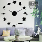 Aquatic Animals Wall Art Mirror Stickers DIY Giant Wall Clock Kid Room Decor