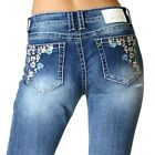 Charme by Grace in LA Women's Floral Embroidered Bootcut Stretch Jeans