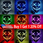 Halloween LED Glow Mask 3 Modes EL Wire Light Up The Purge Movie Costume Party @