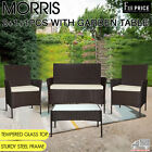 Morris 4 Pcs Garden Chair Black Brown 2+1+1 Garden Table Patio Outdoor Furniture