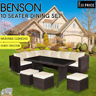 Benson 5 Pcs Outdoor Garden Furniture Black Brown Dining Set 10 Seater