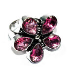 Pink Rubellite Gemstone 925 Silver Jewelry Ring Size - 6