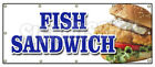 FISH SANDWICH BANNER SIGN haddock cod fresh deep fried beer battered