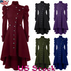 US Gothic Vintage Women Steampunk Victorian Swallow Tail Long Trench Coat Jacket