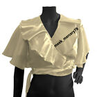Satin  Ruffle Top Butterfly Sleeve tribal dance Frilling crop top Plus Size S 84