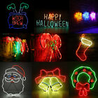 LED Neon Sign Night Light Wall Visual Artwork Bar Lamp Home Xmas Halloween SP
