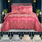 3 Piece Quilted Satin Jacquard Bedspread Throw Comforter Bedding Set Double King