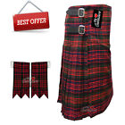 Scottish Clan MacDonald Men's 8 Yard Tartan Kilt With Flashes Premium Quality