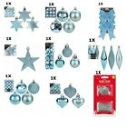 Christmas Tree Ornaments Ice Blue Baubles Star,Heart,Drops,Bows Hanging Decor