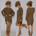 Womens Knitted Sweater Jumper Knitwear Ladies Long Sleeve Mini Dress Tunic Tops