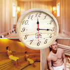 Sauna House Wall Clock Hanging Round Shape Space Saving Decoration Opaque Wooden