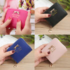 Women Small Wallet Lady Mini Purse Bow PU Leather Short Wallet RFID Blocking US image
