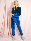Ladies Cropped Velour Zip Hoodie & Jogger Co-ord Tracksuit Set UK Size 8-14