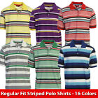Silver Point Mens Regular Fit Striped Short Sleeve Polo Shirt - 16 Colors