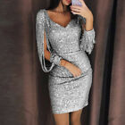 Women V Neck Long Sleeve Sparkly Sequin Mini Short Party Evening Bodycon Dresses