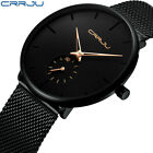 CRRJU Men Fashion Military Stainless Steel Analog Date Sport Quartz Watch CA