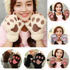 Womens Girls Cat Claw Paw Print Plush Short Fingerless Gloves Sleeves Mittens