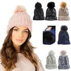 New Ladies Fleece Lining Sequins Faux Fur Pom-Pom Winter Beanie Hat