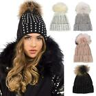 New Women's Gem Jewel Detachable Genuine Fur Pom Pom Bobble Hat