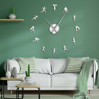 Athlete Runners Silhouette Wall Art Mirror Stickers DIY Giant Wall Clock Watch