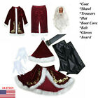 Santa Claus Suit Adult Deluxe Velvet Christmas Costume Fancy Dress Full Set