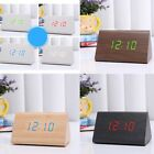 Wooden LED Digital Alarm Clock Voice Control Time Temperature Humidity Display