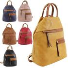 New Men's Women's Faux Leather Multiple Pockets Casual Sling Backpack