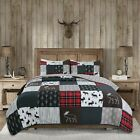 Rustic Lodge Moose Cabin Real Patchwork Reversible Quilt Set Bedspread Coverlet image