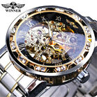 New Mens Classic Transparent Steampunk Skeleton Mechanical Stainless Steel Watch image